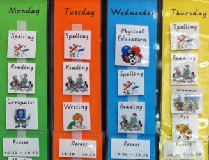 Image of a colourful weekly schedule with images for activities