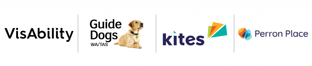 EverAbility group logos listed in a row: VisAbility, Guide Dogs/TAS, Kites, Perron Place